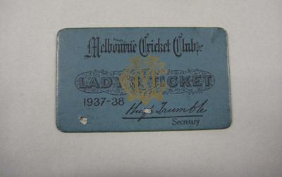 Melbourne Cricket Club Lady Membership Ticket, 1937/38