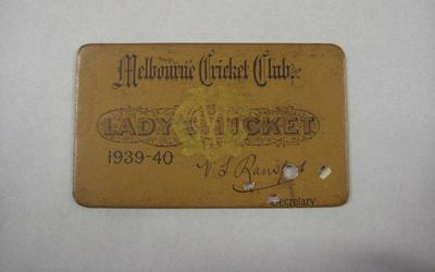 Melbourne Cricket Club Lady Membership Ticket, 1939/40