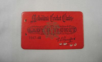 Melbourne Cricket Club Lady Membership Ticket, 1947/48
