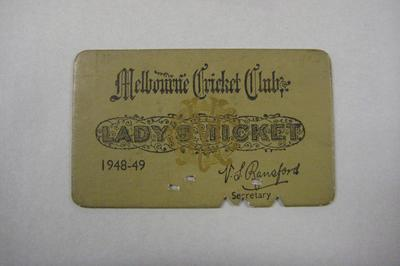 Melbourne Cricket Club Lady Membership Ticket, 1948/49