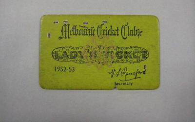 Melbourne Cricket Club Lady Membership Ticket, 1952/53