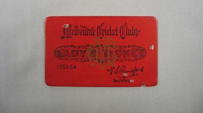 Melbourne Cricket Club Lady Membership Ticket, 1953/54