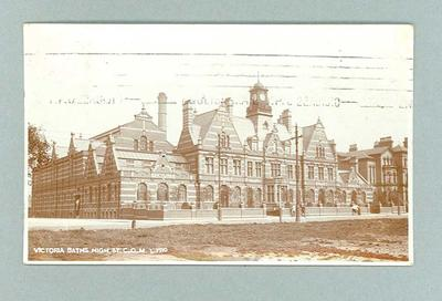 Postcard with image of Victoria Baths, Manchester, U.K.
