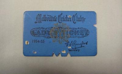 Melbourne Cricket Club Lady Membership Ticket, 1954/55