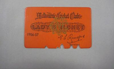Melbourne Cricket Club Lady Membership Ticket, 1956/57