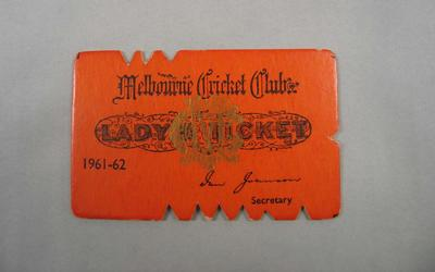Melbourne Cricket Club Lady Membership Ticket, 1961/62