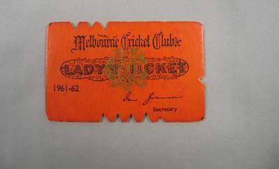 Melbourne Cricket Club Lady Membership Ticket, 1961/62