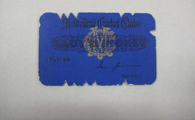 Melbourne Cricket Club Lady Membership Ticket, 1963/64