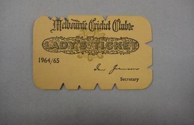 Melbourne Cricket Club Lady Membership Ticket, 1964/65