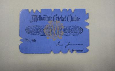 Melbourne Cricket Club Lady Membership Ticket, 1965/66