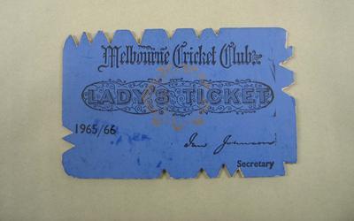 Melbourne Cricket Club Lady Membership Ticket, 1965/66