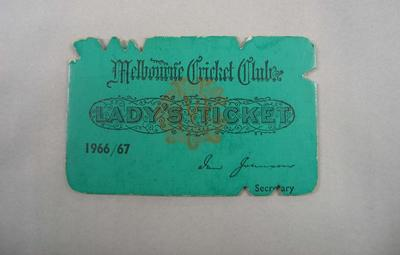 Melbourne Cricket Club Lady Membership Ticket, 1966/67