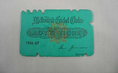 Melbourne Cricket Club Lady Membership Ticket, 1966/67