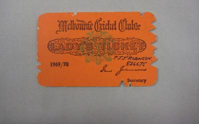 Melbourne Cricket Club Lady Membership Ticket, 1969/70