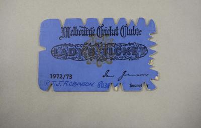 Melbourne Cricket Club Lady Membership Ticket, 1972/73