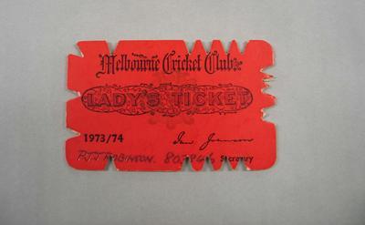 Melbourne Cricket Club Lady Membership Ticket, 1973/74