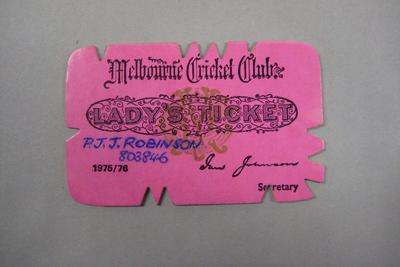 Melbourne Cricket Club Lady Membership Ticket, 1975/76