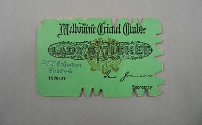 Melbourne Cricket Club Lady Membership Ticket, 1976/77