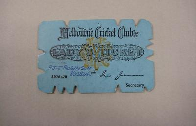 Melbourne Cricket Club Lady Membership Ticket, 1978/79