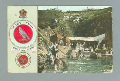 Postcard, image of Traie Meanagh Baths at Port Erin, Isle of Man