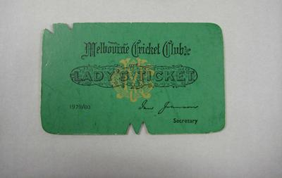 Melbourne Cricket Club Lady Membership Ticket, 1979/80