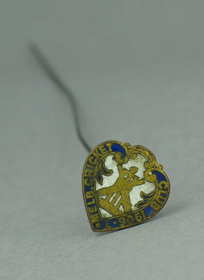 Hat pin, made of 1906 Melbourne Cricket Club member medallion