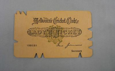 Melbourne Cricket Club Lady Membership Ticket, 1980/81