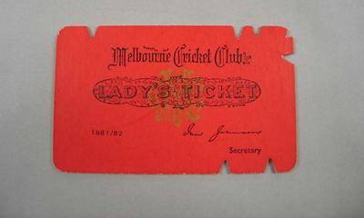 Melbourne Cricket Club Lady Membership Ticket, 1981/82