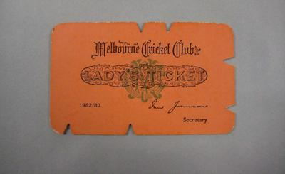 Melbourne Cricket Club Lady Membership Ticket, 1982/83