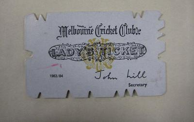 Melbourne Cricket Club Lady Membership Ticket, 1983/84