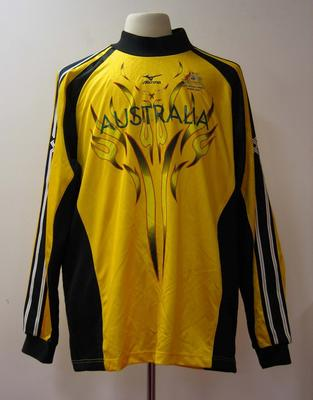 Goalkeeper's jumper, Australian women's hockey team uniform, 2001 East Asian Games, Osaka