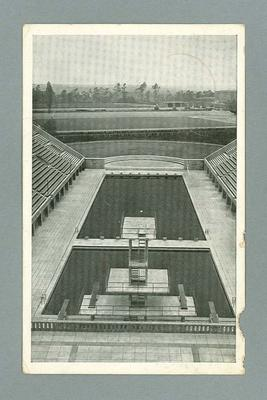 Postcard, image of Olympic Pool in Berlin - 1936