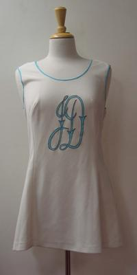 Tinling tennis dress with initials 'JD' detail worn by Judy Dalton