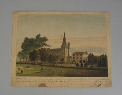 Colour print of Northiam Church and School