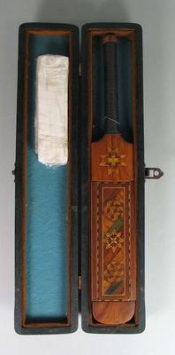 Miniature bat with case presented to Lala Amarnath, 1947-48