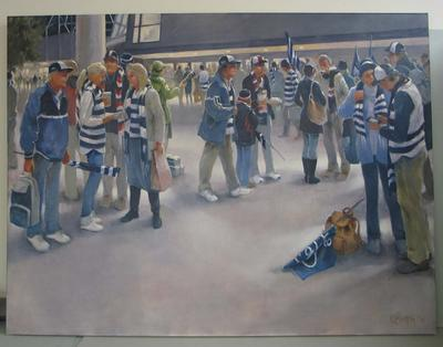 Painting, 'Nightgame at the MCG', 2010. Oil on linen.; Artwork; M16701.1