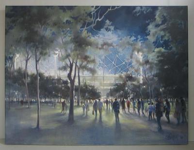 Painting, 'Tribal Ritual' (MCG night Football), 2010. Oil on linen.; Artwork; M16701.2