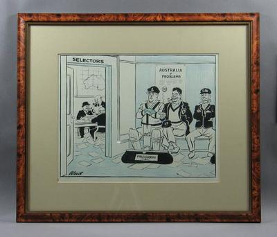 Cartoon depicting Australian political leaders with cricket selectors, by Wells c1946