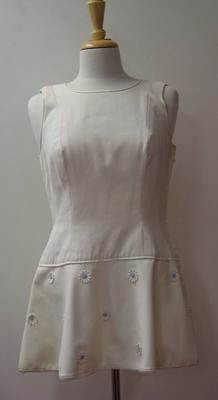 Tennis dress with daisy detail worn by Judy Dalton at Wimbledon, 1965.