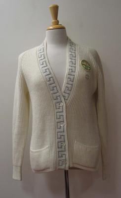 Woollen cardigan with Federation Cup patch worn by Judy Dalton, 1965