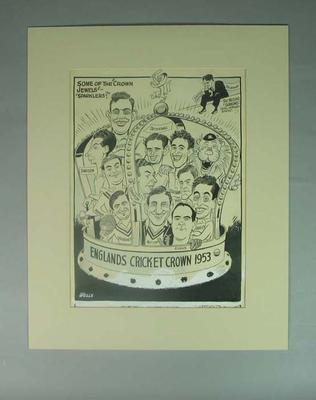 Cartoon of English cricket team 1953, by Wells