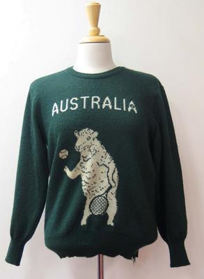 Woollen tennis team jumper worn by Judy Dalton