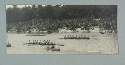 Photograph of Banks Rowing Club winning the Lightweight Maiden Eight race on November 22 1947