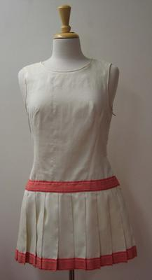 Tinling dress with red ribbon detail worn by Judy Dalton