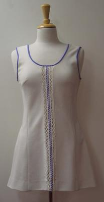 Tinling tennis dress with purple ribbon and lace detail worn by Judy Dalton