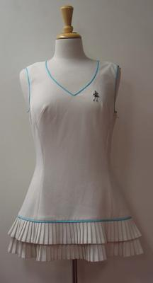 Tinling 'Virginia Slims' tennis dress with blue piping and pleated ruffles worn by Judy Dalton