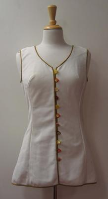 Tinling 'Virginia Slims' tennis dress with brown piping worn by Judy Dalton