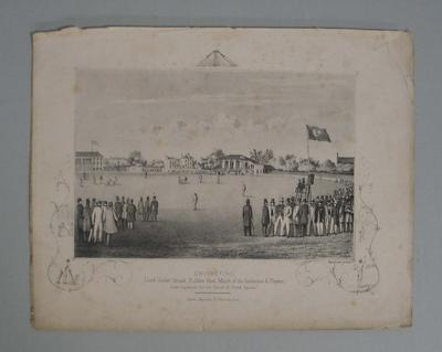Print of a cricket match in progress at Lord's