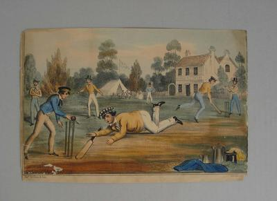 Colour print of a cricket game in action