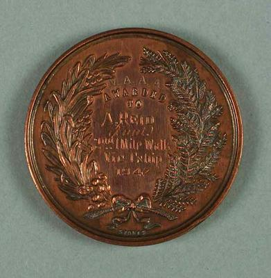Medal - 2nd Place, 1 Mile Walk Victorian Championship 1947